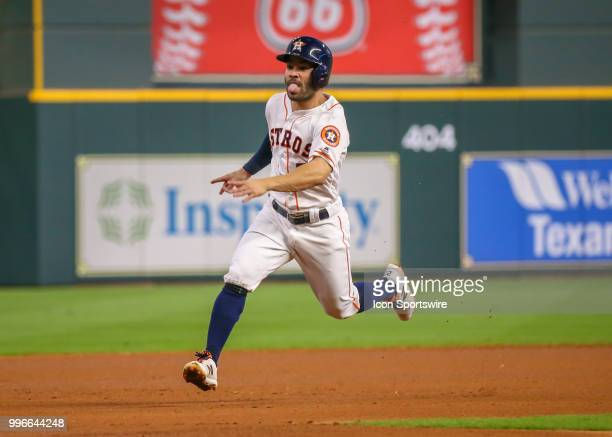 Houston Astros second baseman Jose Altuve sprints to third base during the baseball game between the Oakland Athletics and Houston Astros on July 9...