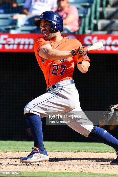 Houston Astros second baseman Jose Altuve with a base hit during a MLB game between the Chicago White Sox and the Los Angeles Angels of Anaheim on...