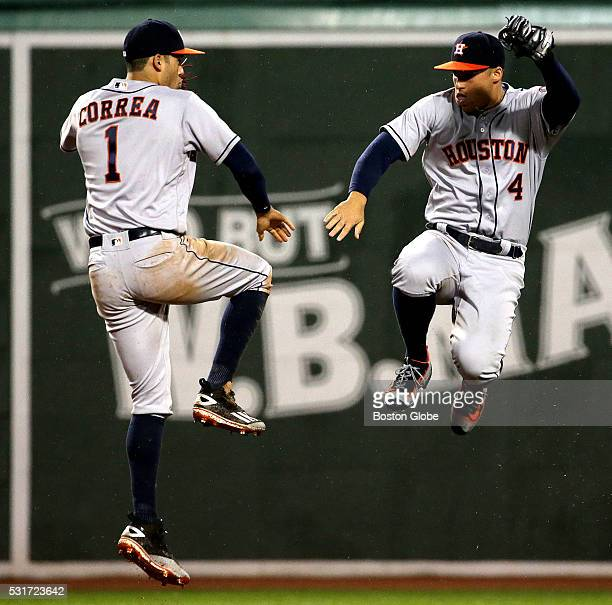 Houston Astros shortstop Carlos Correa and Houston Astros right fielder George Springer celebrate taking a 76 win over the Boston Red Sox The Boston...
