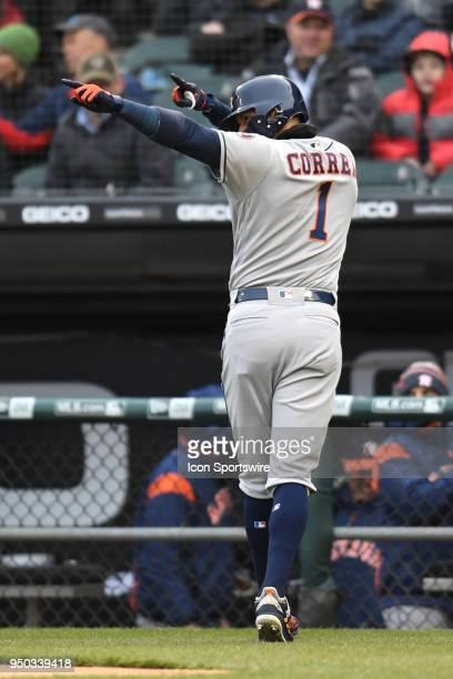 Houston Astros shortstop Carlos Correa celebrates after scoring during a game between the and the Houston Astros the Chicago White Sox on April 21 at...