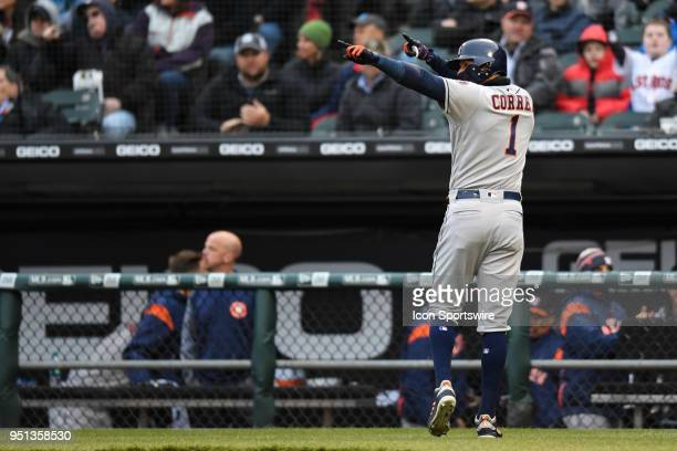 Houston Astros shortstop Carlos Correa celebrates after scoring during a game between the Houston Astros the Chicago White Sox on April 21 at...