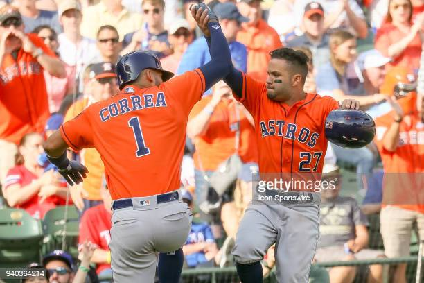 Houston Astros Shortstop Carlos Correa celebrates his home run with Second base Jose Altuve during the baseball game between the Houston Astros and...