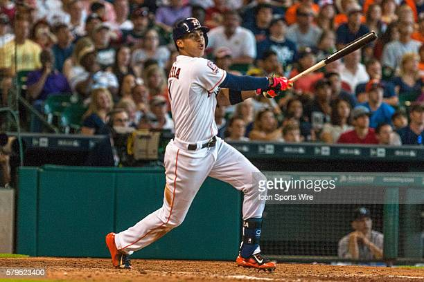 Houston Astros shortstop Carlos Correa hitting the ball for a two run homerun during the baseball game against the New York Yankees in Houston New...