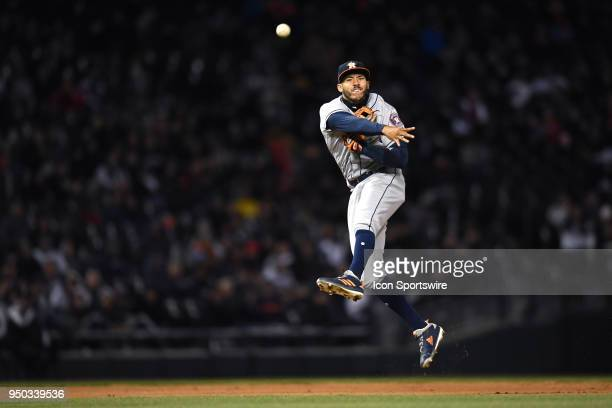 Houston Astros shortstop Carlos Correa throws to first base during a game between the and the Houston Astros the Chicago White Sox on April 21 at...