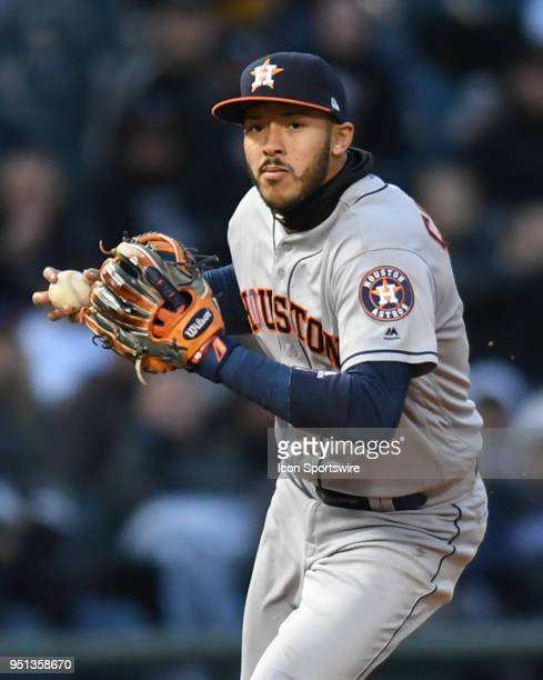 Houston Astros shortstop Carlos Correa throws to first base during a game between the Houston Astros the Chicago White Sox on April 21 at Guaranteed...