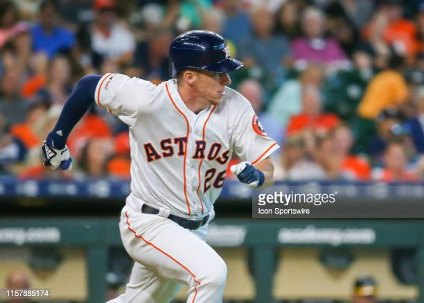 Houston Astros shortstop Myles Straw this a sacrifice bunt in the bottom of the fifth inning during the baseball game between the Oakland Athletics...