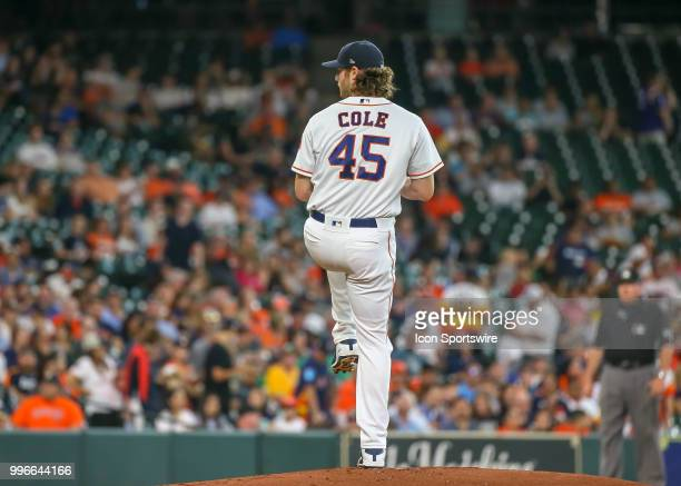 Houston Astros starting pitcher Gerrit Cole prepares to throw a pitch during the baseball game between the Oakland Athletics and Houston Astros on...
