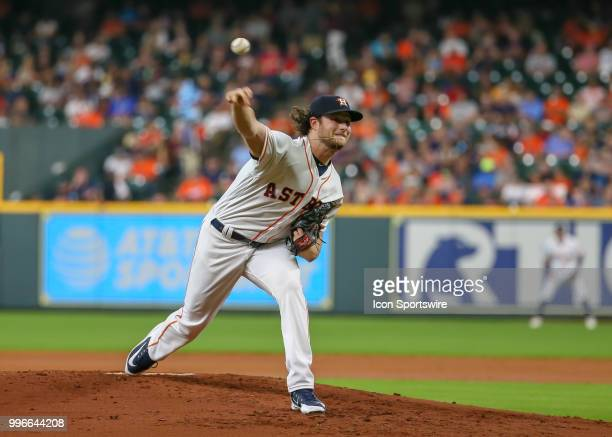 Houston Astros starting pitcher Gerrit Cole throws a pitch during the baseball game between the Oakland Athletics and Houston Astros on July 9 2018...