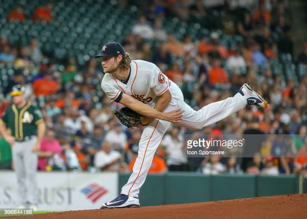 Houston Astros starting pitcher Gerrit Cole watches his pitch during the baseball game between the Oakland Athletics and Houston Astros on July 9...