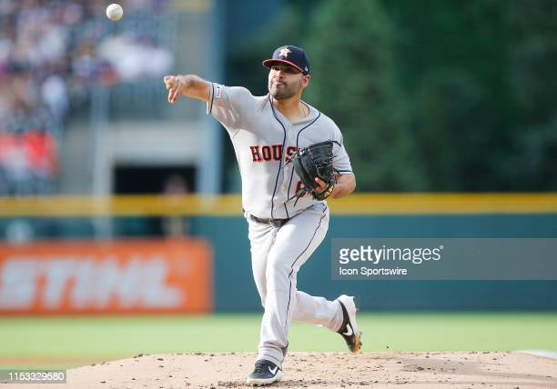 Houston Astros starting pitcher Jose Urquidy delivers a pitch during the first inning of a game between the Colorado Rockies and the visiting Houston...