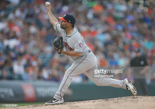 Houston Astros starting pitcher Jose Urquidy delivers a pitch during a game between the Colorado Rockies and the visiting Houston Astros on July 2...