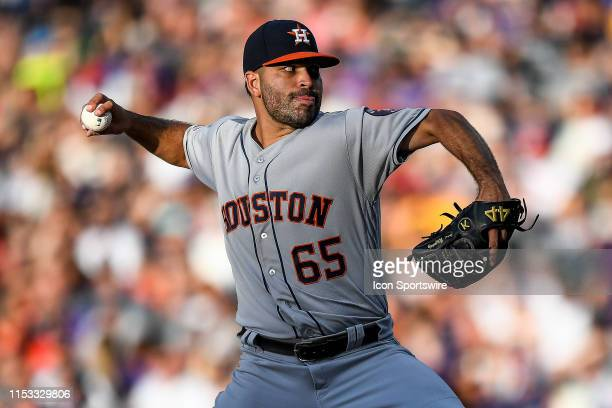Houston Astros starting pitcher Jose Urquidy pitches against the Colorado Rockies in his major league debut during a regular season Major League...