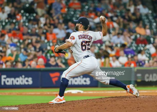 Houston Astros starting pitcher Jose Urquidy takes over the mound in the top of the fourth inning during the baseball game between the Seattle...