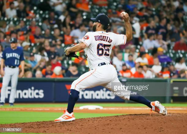 Houston Astros starting pitcher Jose Urquidy takes over the mound in the top of the fifth inning during the baseball game between the Seattle...