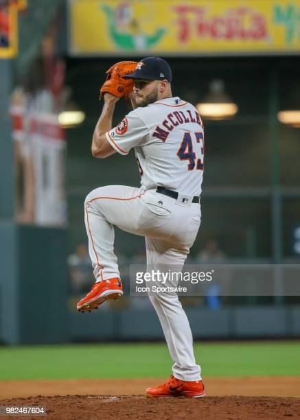 Houston Astros starting pitcher Lance McCullers Jr pitches to Kansas City Royals left fielder Alex Gordon in the top of the sixth inning during the...
