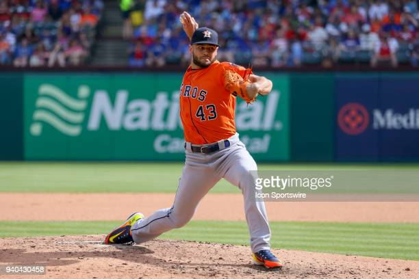 Houston Astros Starting pitcher Lance McCullers Jr throws during the baseball game between the Houston Astros and Texas Rangers on March 31 2018 at...