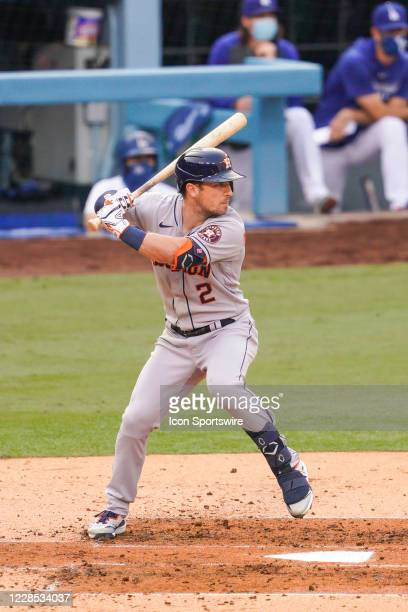 Houston Astros third baseman Alex Bregman at bat during a MLB game between the Houston Astros and the Los Angeles Dodgers on September 13, 2020 at...