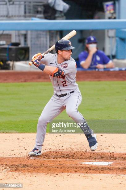 Houston Astros third baseman Alex Bregman at bat during a MLB game between the Houston Astros and the Los Angeles Dodgers on September 12, 2020 at...