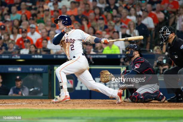 Houston Astros third baseman Alex Bregman hitting a solo homerun in the seventh inning during the ALDS baseball game between the Houston Astros and...