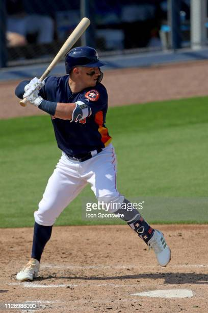 Houston Astros third baseman Alex Bregman in action at the plate against the New York Mets during a spring training game on March 04 at The Ballpark...