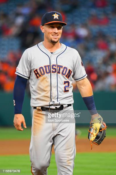 Houston Astros third baseman Alex Bregman looks on during a MLB game between the Houston Astros and the Los Angeles Angels of Anaheim on July 15,...