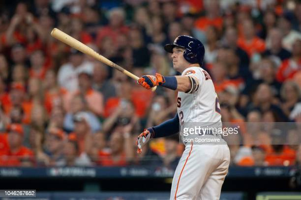 Houston Astros third baseman Alex Bregman looks-on after a home-run in the fourth inning of game 1 of the ALDS between the Houston Astros and the...