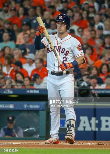 Houston Astros third baseman Alex Bregman prepares to bat during the ALDS Game 2 between the Cleveland Indians and Houston Astros on October 6, 2018...