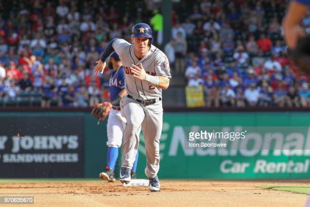 Houston Astros third baseman Alex Bregman runs to third base during the game between the Texas Rangers and the Houston Astros on June 9 2018 at Globe...