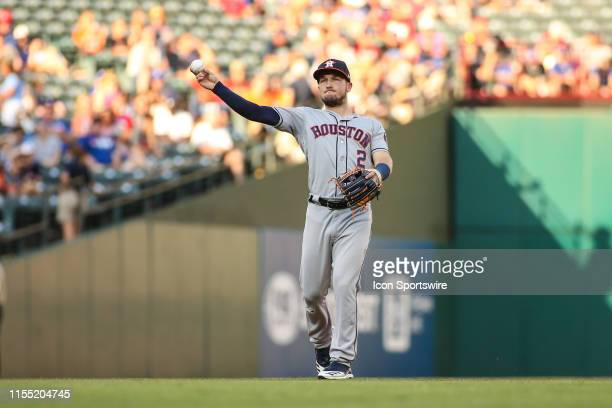 Houston Astros third baseman Alex Bregman throws to first base during the game between the Houston Astros and the Texas Rangers on July 11, 2019 at...