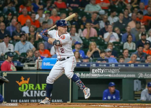 Houston Astros third baseman Alex Bregman watches the pitch during the baseball game between the Kansas City Royals and Houston Astros on May 8, 2019...