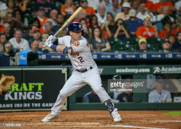 Houston Astros third baseman Alex Bregman watches the pitch during the baseball game between the Detroit Tigers and Houston Astros on August 21, 2019...