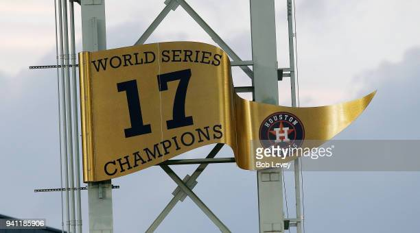 Houston Astros unveil the 2017 World Series banner prior to playing the Baltimore Orioles at Minute Maid Park on April 2 2018 in Houston Texas