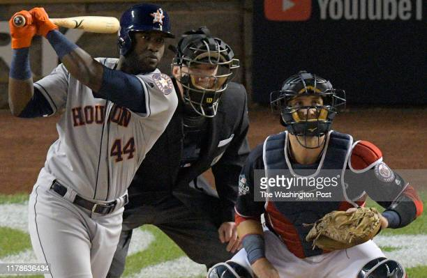 Houston Astros Yordan Alvarez hits a 2 run 2nd inning home run during a game between the Washington Nationals and the Houston Astros in game 5 of the...