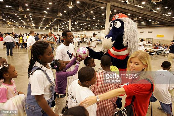 Houston Comets mascot Haley visits with the evacuees September 7 2005 at Reliant Park in Houston Texas NOTE TO USER User expressly acknowledges and...