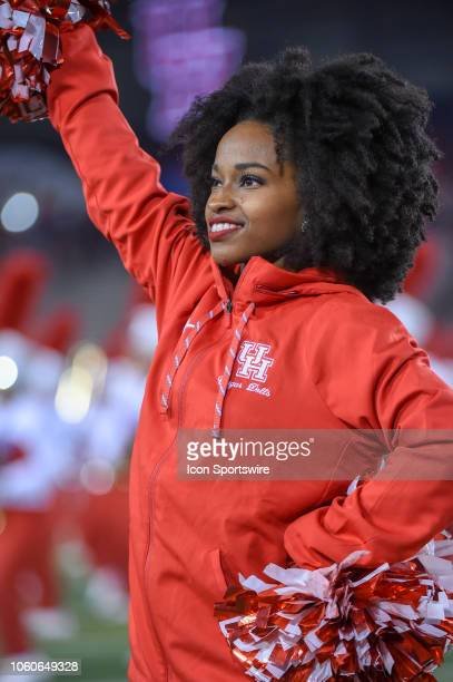 Houston Cougar cheerleaders rev up the crowd during the football game between the Temple Owls and Houston Cougars on November 10 2018 at TDECU...