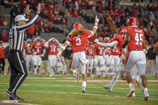 Houston Cougars defensive back Grant Stuard celebrates a huge hit and stop on 3rd down during second half action during the football game between the...