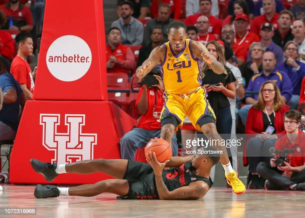 Houston Cougars guard Armoni Brooks steals the ball away from LSU Tigers guard Ja'vonte Smart during the basketball game between the LSU Tigers and...
