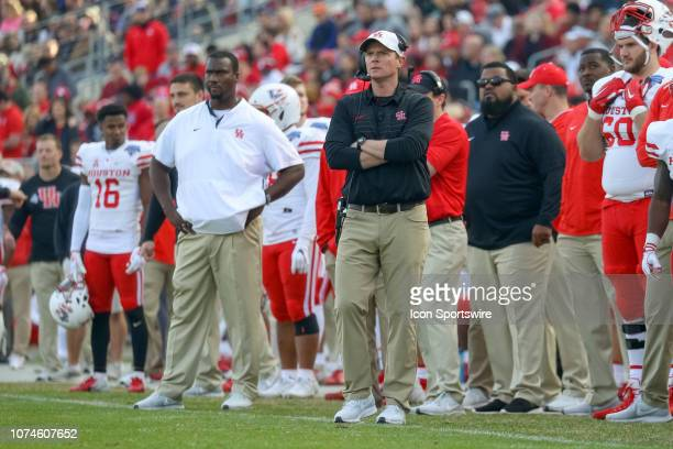 Houston Cougars head coach Major Applewhite looks on from the sideline during the Armed Forces Bowl between the Houston Cougars and Army Black...