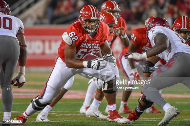 Houston Cougars offensive lineman Jarrid Williams prepares to pass block during the football game between the Temple Owls and Houston Cougars on...