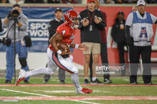 Houston Cougars quarterback D'Eriq King cuts back to the middle of the field during the football game between the Temple Owls and Houston Cougars on...