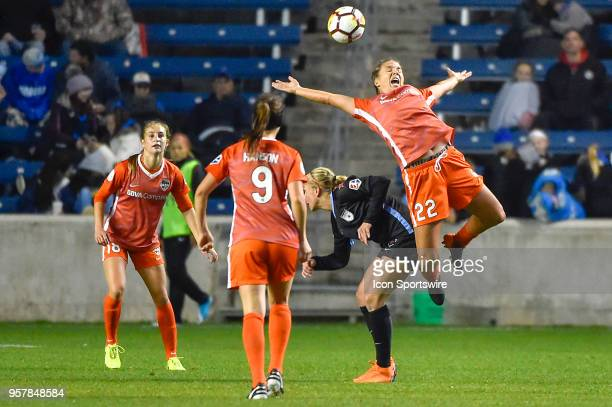 Houston Dash defender Amber Brooks is pushed in the back Chicago Red Stars midfielder Alyssa Mautz on May 12 2018 at Toyota Park in Bridgeview...
