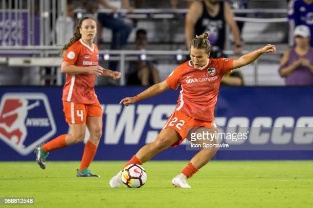 Houston Dash defender Amber Brooks kicks the ball during the soccer match between the Orlando Pride and the Houston Dash on June 27 2018 at Orlando...