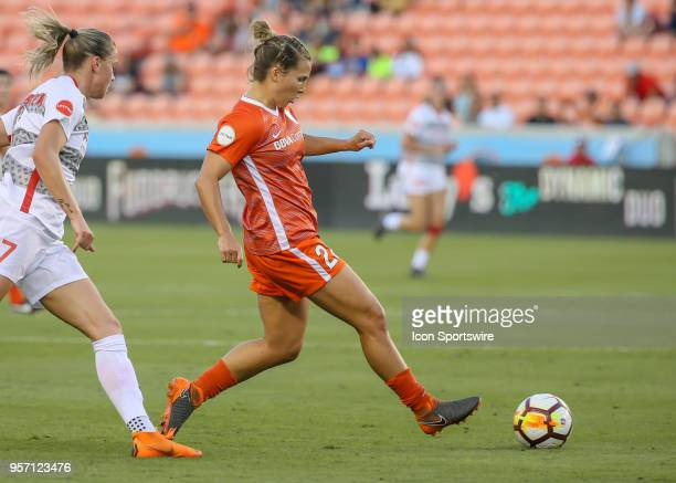 Houston Dash defender Amber Brooks reaches to trap the ball during the soccer match between the Portland Thorns and Houston Dash on May 9 2018 at...