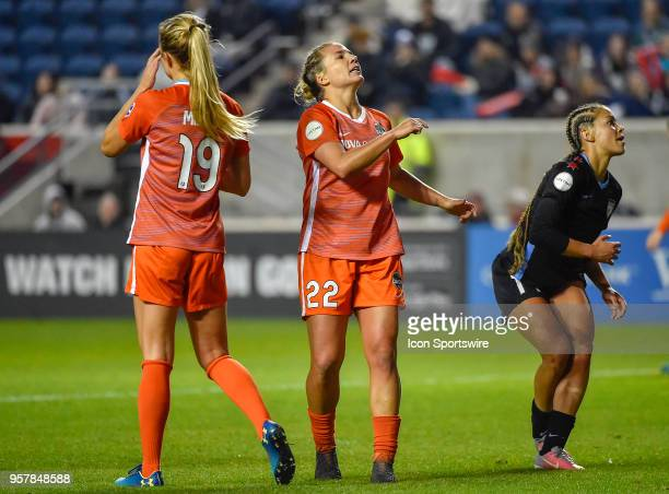 Houston Dash defender Amber Brooks reacts after missing the shot on goal against the Chicago Red Stars on May 12 2018 at Toyota Park in Bridgeview...