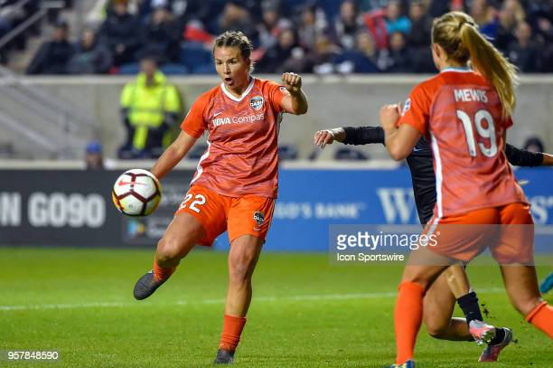 Houston Dash defender Amber Brooks takes a shot at goal during the game against the Chicago Red Stars on May 12 2018 at Toyota Park in Bridgeview...