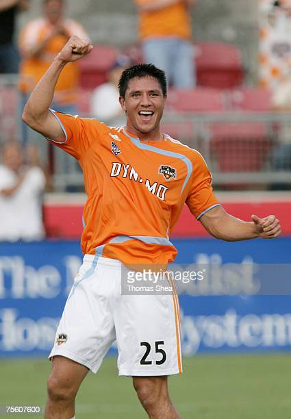 Houston Dynamo Brian Ching celebrates his goal against New York Red Bulls in the first half on July 5 2007 at Robertson Stadium in Houston, Texas.