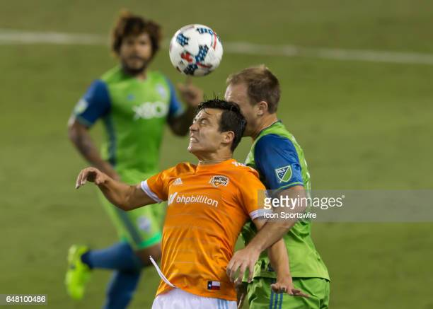 Houston Dynamo forward Erick Torres goes up for a header during the MLS opening match between the Seattle Sounders and Houston Dynamo on March 4 2017...