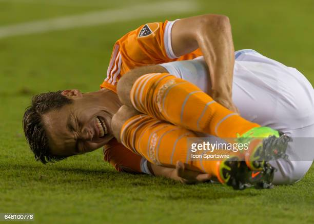 Houston Dynamo forward Erick Torres got kicked during the MLS opening match between the Seattle Sounders and Houston Dynamo on March 4 2017 at BBVA...