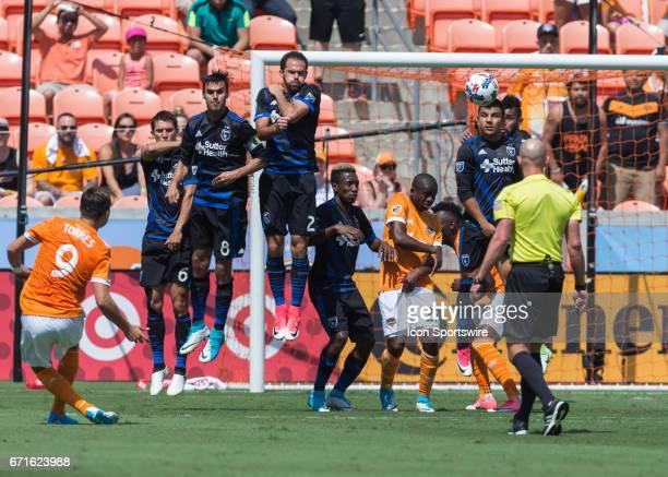 Houston Dynamo forward Erick Torres sends a free kick during the MLS match between San Jose Earthquakes and Houston Dynamo on April 22 2017 at BBVA...
