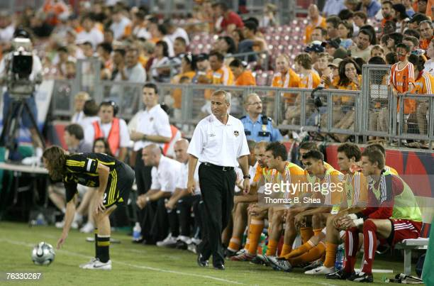 Houston Dynamo head coach Dominic Kinnear watches the play against the Columbus Crew on August 25 2007 at Robertson Stadium The match ended up in a 1...